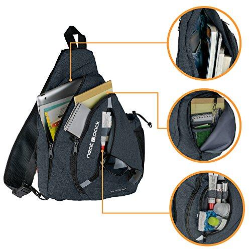 Versatile Canvas Sling Bag / Urban Travel Backpack, Black | Wear Over Shoulder or Crossbody for Men & Women, by NeatPack