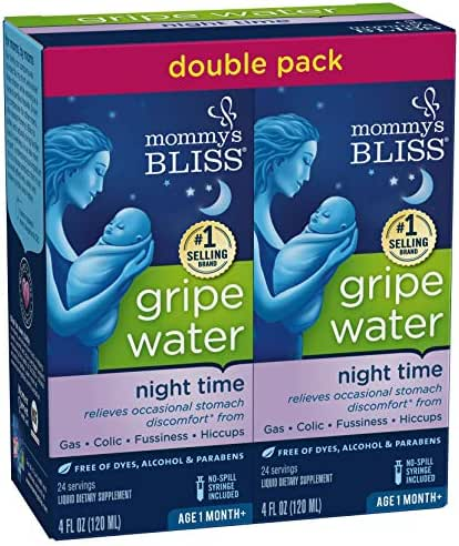 Mommy's Bliss Night Time Gripe Water for Baby's Tummy Trouble, Relieves Occasional Infant Stomach Discomfort from Gas, Colic, Fussiness, & Hiccups, 4 Fl Oz, Pack of 2