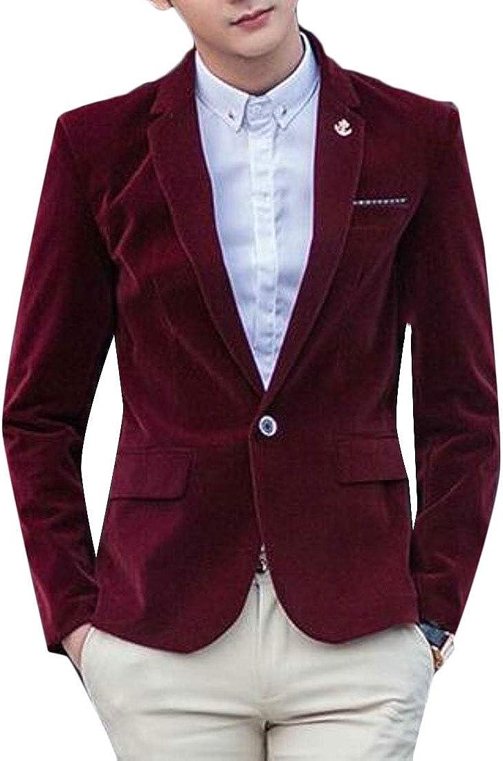 WSPLYSPJY Men Casual Blazer Notch Lapel One Button Plain Corduroy Sport Coat