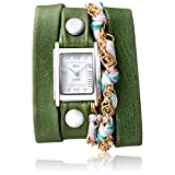La Mer Collections Women's 'Multi Chain' Quartz Stainless Steel Case Back, Nickle Free Mixed Metal Alloy and Leather Watch, Color:Thai Green / Silver-Toned (Model: LAMERMULTI4508)