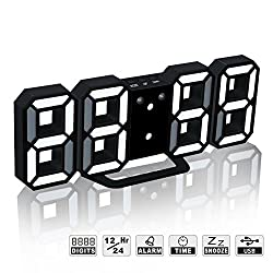 LED Digital Alarm Clock For Desk / Shelf / Tabletop, Modern Home Decoration 3D Wall Clock, Easy To Read at Night, Loud Alarm and Snooze, Big Digit Display (Black Frame, White Light)