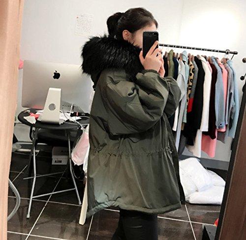 Cotton Jacket Waist Xuanku Loose Oversized Jacket Army hair Loose Cotton black Long Midties Bristles green gxBxT4