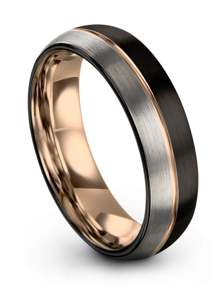 Midnight Rose Collection Tungsten Wedding Band Ring 6mm for Men Women 18k Rose Gold Plated Dome Center Line Black Grey Half Brushed Polished Size 11.5