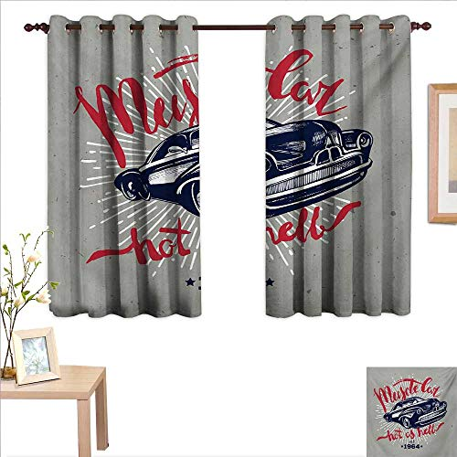 """MartinDecor Cars Waterproof Window Curtain Hot as Hell Muscle Car Quote Classic Vintage Sports Car in Navy Blue 55""""x 39"""",Suitable for Bedroom Living Room Study, etc."""