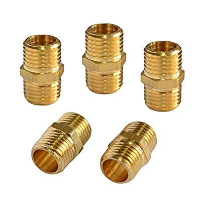 PowRyte Solid Brass Fitting, Male Coupling Set - 1/4-Inch NPT x 1/4-Inch NPT from Eosmos