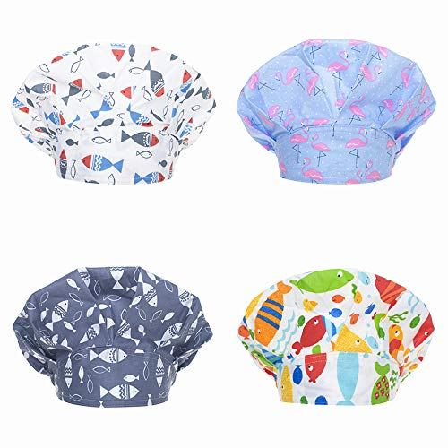 Opromo Adjustable Cotton Scrub Cap Animal Print Bouffant Hat with Sweatband-Assorted 4 ()