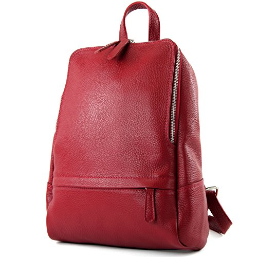 Modamoda De - Ital.   Zaino In Pelle Donna Borsa Citybag T138 Dunkelrot