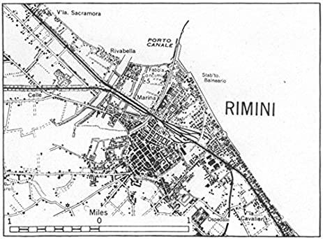 Amazoncom ITALY Rimini sketch map 1945 old map antique map