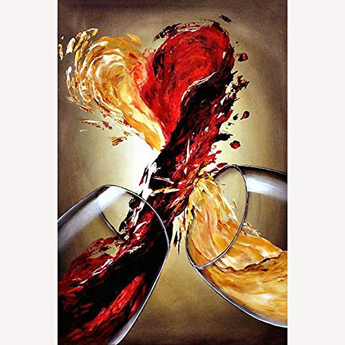 Diy 5D Diamond Painting By Number Kit, Red Yellow Wine?Crystal Rhinestone Embroidery Cross Stitch Arts Craft Canvas Wall Decor(Frameless) ()