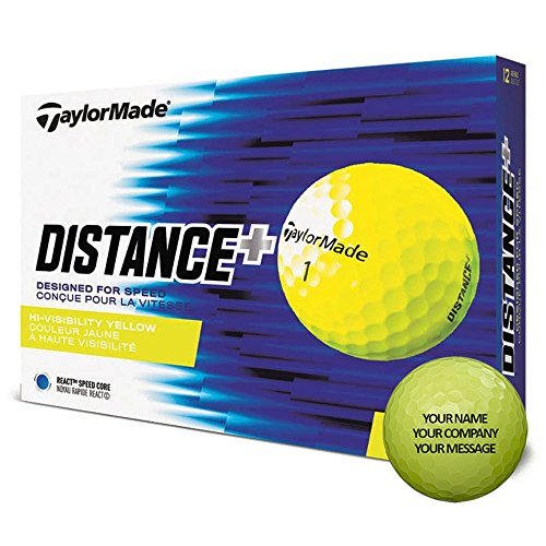 - TaylorMade Distance Plus Personalized Golf Balls - Add Your Own Text 2018 1 Dozen Yellow