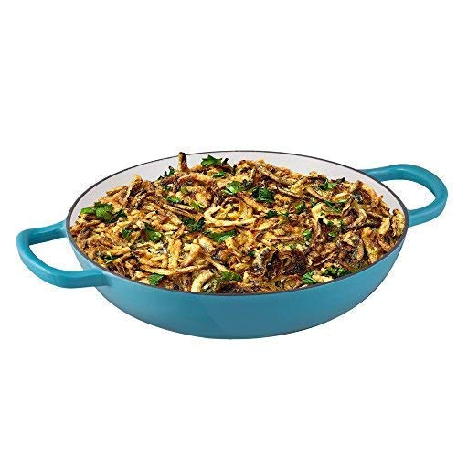 Enameled Cast Iron Casserole Braiser - Pan with Cover, 3.8-Quart, Marine Blue by Bruntmor (Image #3)