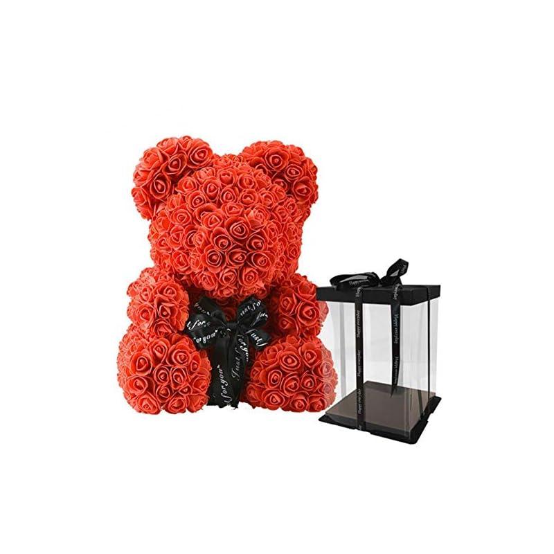 silk flower arrangements zanla rose flower teddy bear shaped artificial flowers valentines wedding anniversary birthday gifts toys for girlfriend girls, gift package (red 40cm)