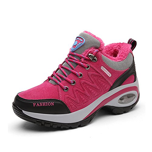 Gomnear Womens Hiking Boots Warm Fur Lined High Rise Antislip Outdoor Trekking Walking Shoes Rood