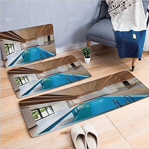 3 Piece Non-Slip Doormat 3D Print for Door mat Living Room Kitchen Absorbent Kitchen mat,Pool Wooden Ceiling Private Resident Stylish,15.7