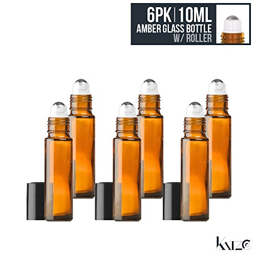 Ball Compact Glass - 6 Pack- 10 ML Amber Glass Bottle With Roll On Ball Applicator Convenient - For Hydrosol, Bathroom, Cosmetics, Cream, Balms, Oils, Perfume, Travel, Beauty - Anti-Leak, Re-Usable. -By Katzco
