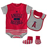 Majestic Anaheim Angels Baby Pennant Bodysuit, Bib and Bootie Set, 6-9M