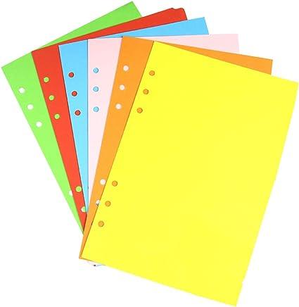 6 anelli per planner per notebook divisori colorati per raccoglitori ad anelli A5 6 fogli Divisori con linguette YEAHIBABY