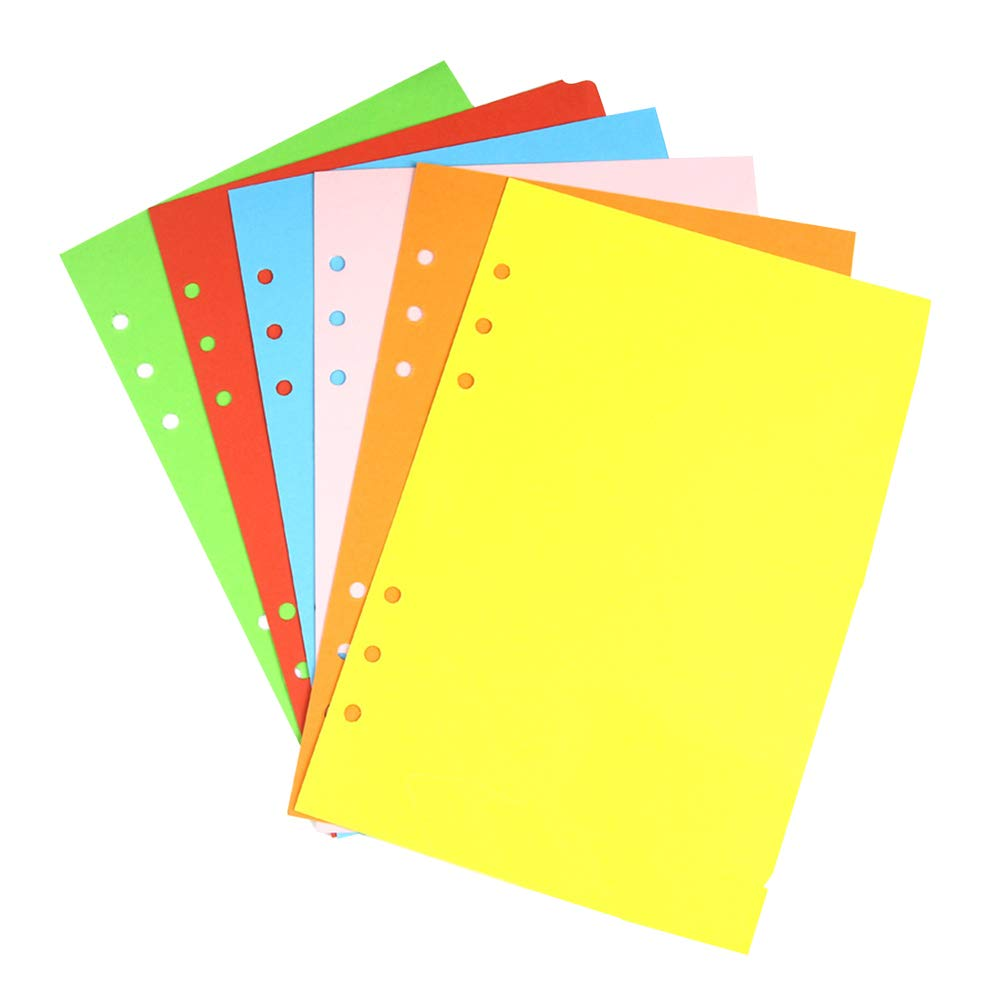 YeahiBaby Colored Classified Index Dividers 6 Holes Filler Project Sorter Pages for Ring Notebook A5 6 Pack