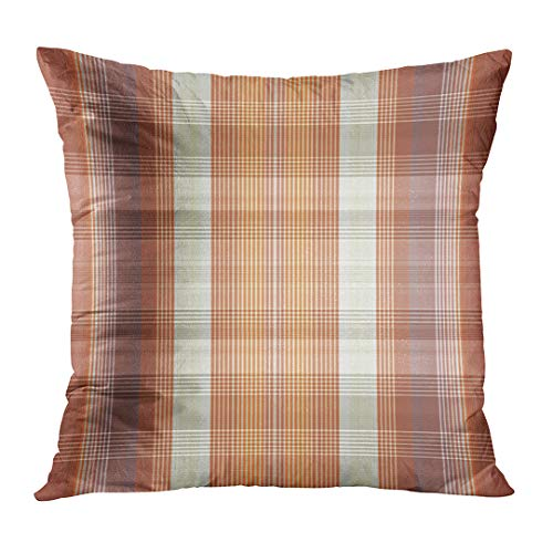 LOULNN Throw Pillow Cover Modern Abstract Brown and Orange Check Tartan Checkered Color Garment Decorative Pillow Case Home Decor Square 18x18 Inches Pillowcase