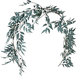 LJDJ Green Leaf Garland Decorations - 5.4 Feet Artificial Silk Fabric Willow Plant Leaves Vines Twigs Garland String Indoor/Outdoor Wedding Decor Jungle Luau Party Supplies Faux Greenery Crowns Wreath 114