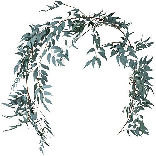 Fresh Garland (LJDJ Gray Green Leaf Garland Decorations - 5.4 Feet Artificial Silk Fabric Willow Plant Leaves Vines Twigs Garland String Wedding Decor Jungle Luau Safari Party Supplies Faux Greenery Crowns Wreath)
