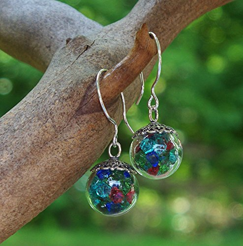Recycled Vintage Bottles Multi Glass Orb Earrings ()