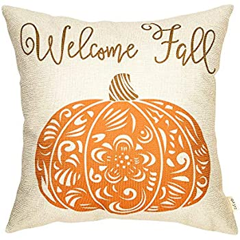 Fjfz Rustic Welcome Fall Pumpkin Autumn DecorCotton Linen Home Decorative Throw Pillow Case Cushion Cover with Words for Thanksgiving Day Sofa Couch, 18