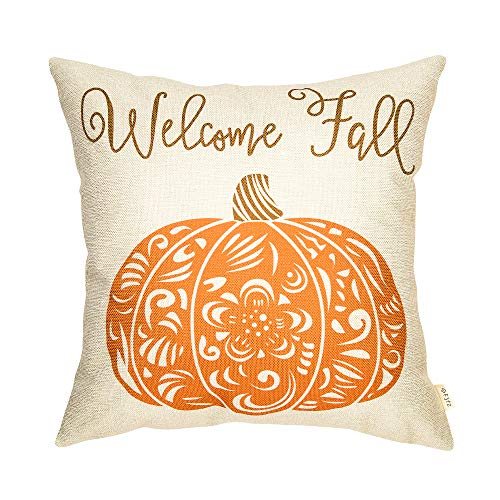 Fjfz Rustic Welcome Fall Pumpkin Autumn DecorCotton Linen Home Decorative Throw Pillow