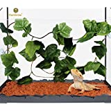 SunGrow Natural Looking Reptile Plants - Vibrant Green Terrarium Plastic Plants by 6.5ft Easy to Clean Silk Leaves - Creates Natural Hiding Spot for Reptiles and Amphibians - Suction Cups Included