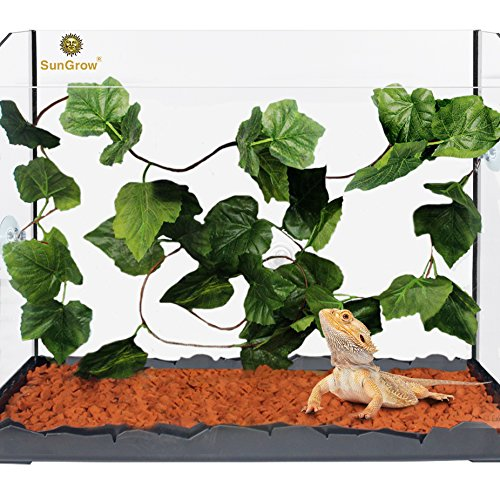 Natural Looking Reptile Plants --- Vibrant Green Terrarium Plastic Plants by SunGrow - 6.5ft Easy to Clean Silk Leaves - Creates Natural Hiding Spot for Reptiles and Amphibians - Suction Cups Included (Decorations Reptile Cage)