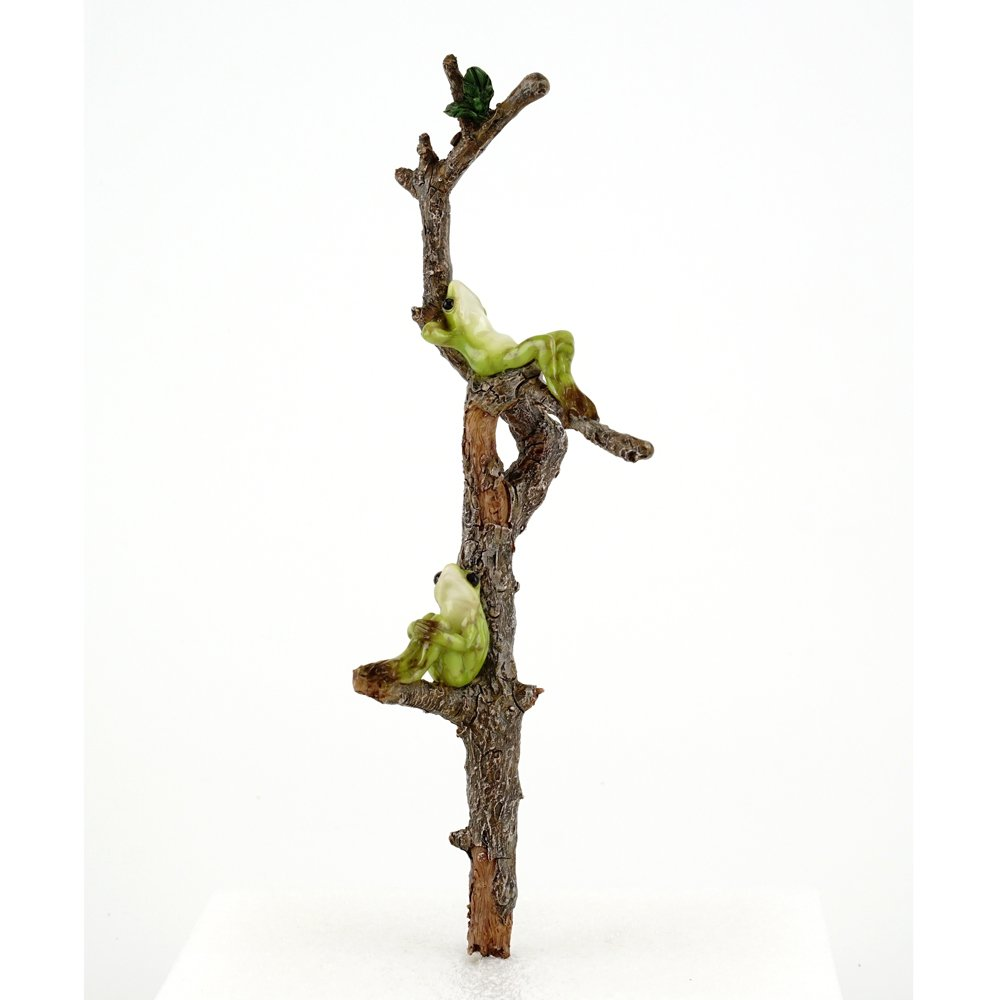 Top Collection Miniature Fairy Garden Two Frogs Relaxing on Branch & Planter Stake Statue, Small