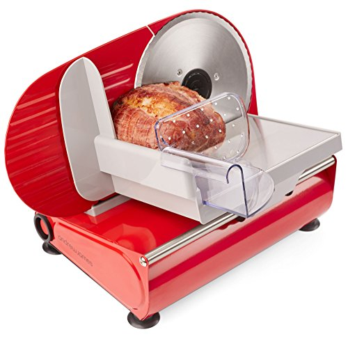 Andrew James Meat Slicer Electric Cutter for Bread & Other Food   3 Interchangeable Blades   Plastic Pusher Blade Guard   Non-Slip Feet   150W