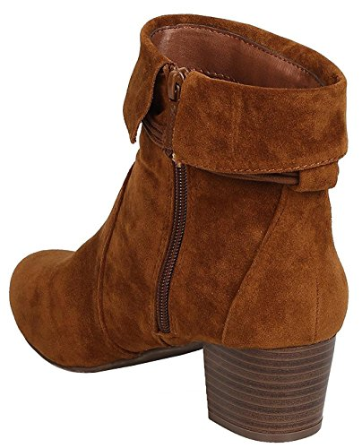 Breckelles Mujeres Closed Toe Cuff Tassel Chunky Stacked Mid Heel Botín Tan