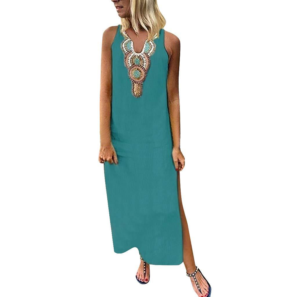 Yuwegr Frauen Kleider Sommer Casual Vintage Gedruckt Ärmellose Maxikleid V-Neck Damen Kleid 3 Farbe S-2XL