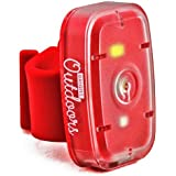 Bright Outdoors LED Safety Light / Flashlight. Red & White Lights for Running, Dog Walking, Cycling & Night Sport. Flashing, Steady Modes. USB Rechargeable with Bike Strap, Armband & Belt Clip