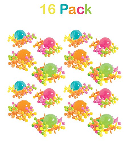 Plastic Jacks Set Jacks Game - Assorted Neon Colors - Pack Of 16 - 10 Jacks And 1 Ball Per Pack, Jacks And Balls Are, 1 Inch, Classic Game Set - For Kids, Party Favors, Fun, Toy, Gift, - By Kidsco - Jacks Ball Game