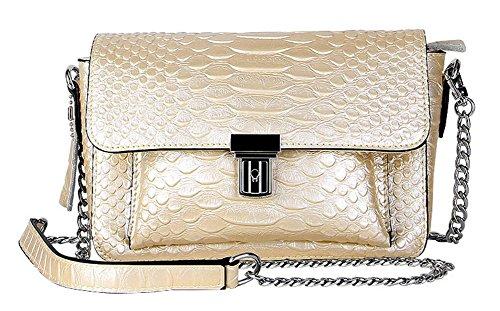 Colors 8 Women Leather Chain Genuine Bag Golden Pattern FairyBridal Crossbody Snake Small Messenger Handbags for wSnqHd
