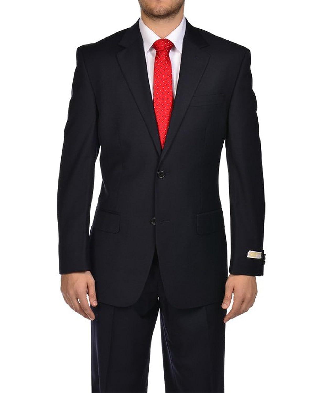 Michael Kors Elegant 2 Button 2 Piece Solid Navy Blue Suit at ...