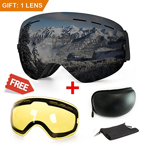 Extra Mile Ski Goggles, Anti-Fog UV Protection Winter Snow Sports Snowboard Goggles Interchangeable Spherical Dual Lens Men Women & Youth Snowmobile Skiing Skating (Black)