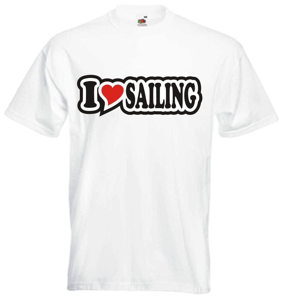 I Love Heart T-Shirt Men I LOVE SAILING Black Dragon