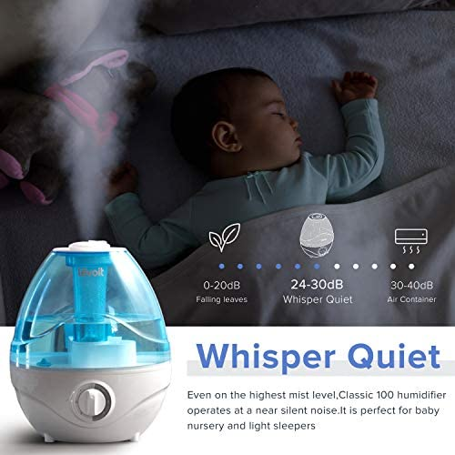 51HLtkBWr3L. AC - LEVOIT Cool Mist Humidifiers For Bedroom, 2.4L Ultrasonic Air Vaporizer For Babies [BPA Free], 24dB Ultra Quiet, Optional Night Light, Filterless, 0.63gal, Blue