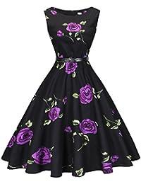 Womens Boatneck Sleeveless Vintage 1950s Retro Rockabilly Prom Tea Dress with Belt