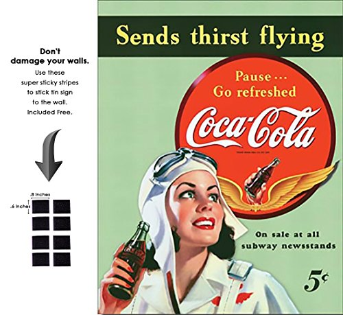 Sign Flying Tin (Shop72- Tin Signs Coke Cola Sends Thirst Flying Retro Tin Sign Vintage Tin Signs)