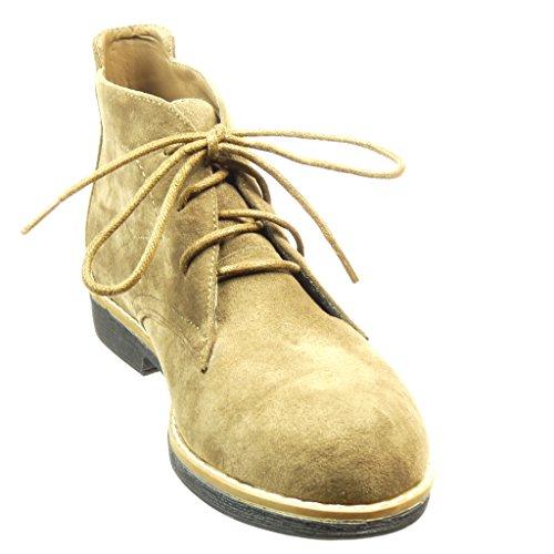 Angkorly - Zapatillas de Moda Botines Desert Boots mujer acabado costura pespunte Talón Tacón ancho 2 CM - Caqui