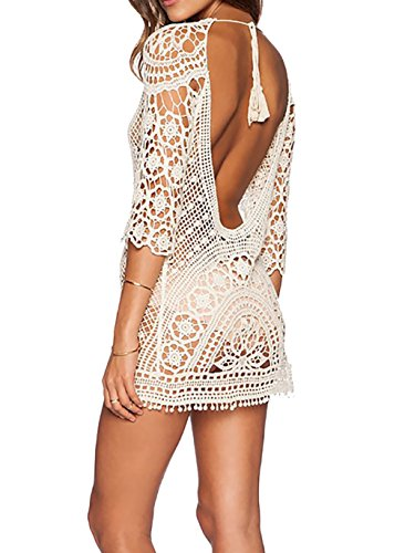 Bestyou® Women's Floral Lace Crochet Cover up Tunic Beachwear Tops Shirts XS-M (White...) (Bikini Cover)