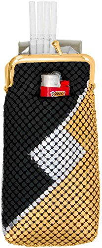 Black/Gold/Silver Vintage Luxuriant Soft Metallic Mesh (Full Pack 120s) Womens Cigarette & Lighter Purse