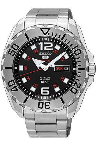 (SEIKO 5 'Baby Monster' 100M Automatic Black Dial Steel Watch SRPB33K1)