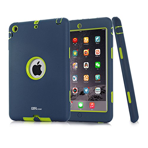 Hocase Dual Layer  Ruggged Hard Rubber Case Apple iPad mini 1 / 2 / 3 - Navy Blue / Fluorescent Green (Ipad Mini Case Generation 1)