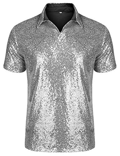 Silver Mens Costumes - URRU Men's Relaxed Short Sleeve Turndown