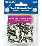 BAZIC Nickel Thumb Tack, Silver, 200 Per Pack